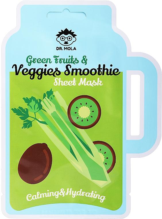 Feuchtigkeitsspendende und beruhigende Tuchmaske für das Gesicht mit grünen Früchten - Dr. Mola Green Fruits & Veggies Smoothie Sheet Mask