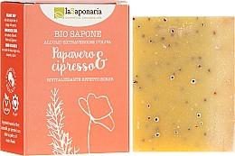 Düfte, Parfümerie und Kosmetik Tonisierende und regenerierende Bio-Seife mit Mohn und Zypresse - La Saponaria Bio Sapone