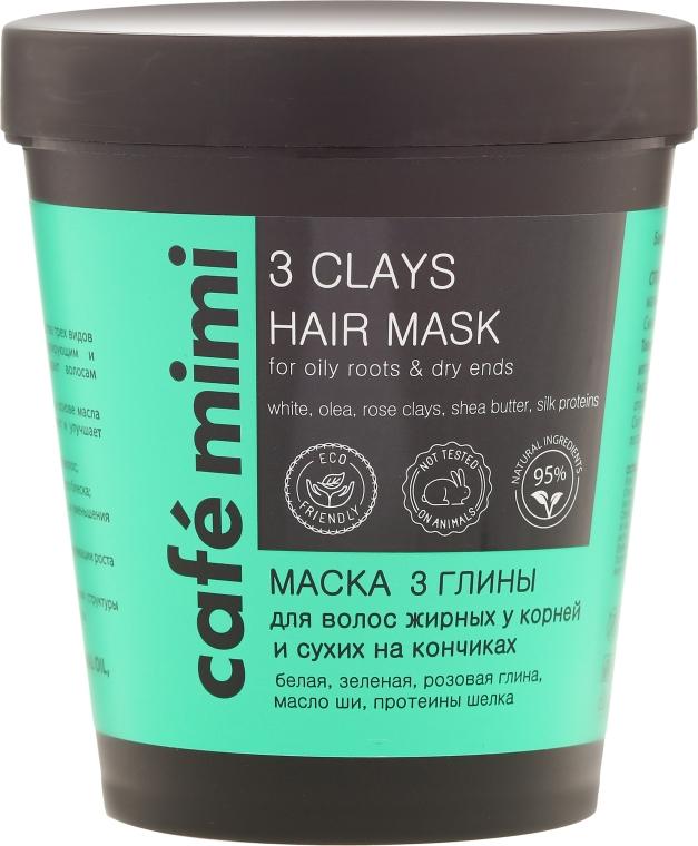 Haarmaske für fettige Wurzeln und trockene Enden mit weißer, grüner und rosa Tonerde - Cafe Mimi Mask