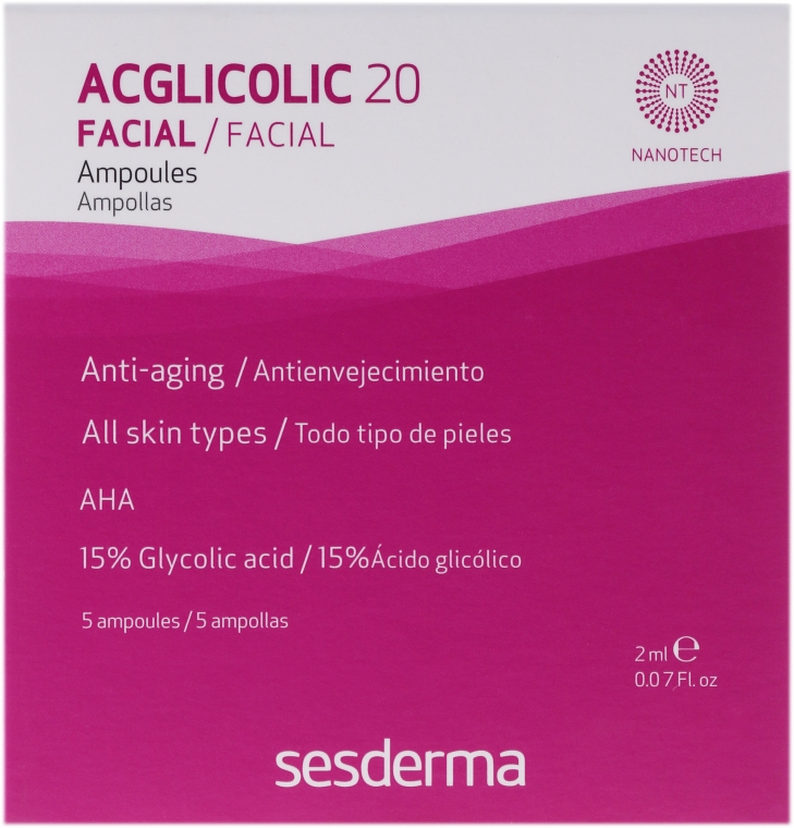 Anti-Aging-Ampullen mit freier Glykolsäure - SesDerma Laboratories Acglicolic 20 Ampoules — Bild N1