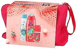 Düfte, Parfümerie und Kosmetik Körperpflegeset - Fa Fiji Dream (Duschgel 250ml + Deo Roll-on 50ml + Trockenshampoo für fettiges Haar 150ml + Kosmetiktasche)