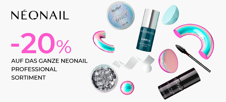 20% Rabatt auf das ganze NeoNail Professional Sortiment. Die Preise auf der Webseite verstehen sich inklusive Rabatt.