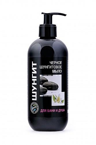 Schwarze Schungit-Seife mit Pumpenspender - Fratti HB Shungite
