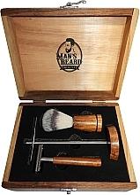 Düfte, Parfümerie und Kosmetik Rasierset für Männer - Man's Beard Barber Wood Set (Rasierpinsel 1St. + Rasierer 1St. + Ständer 1St.)