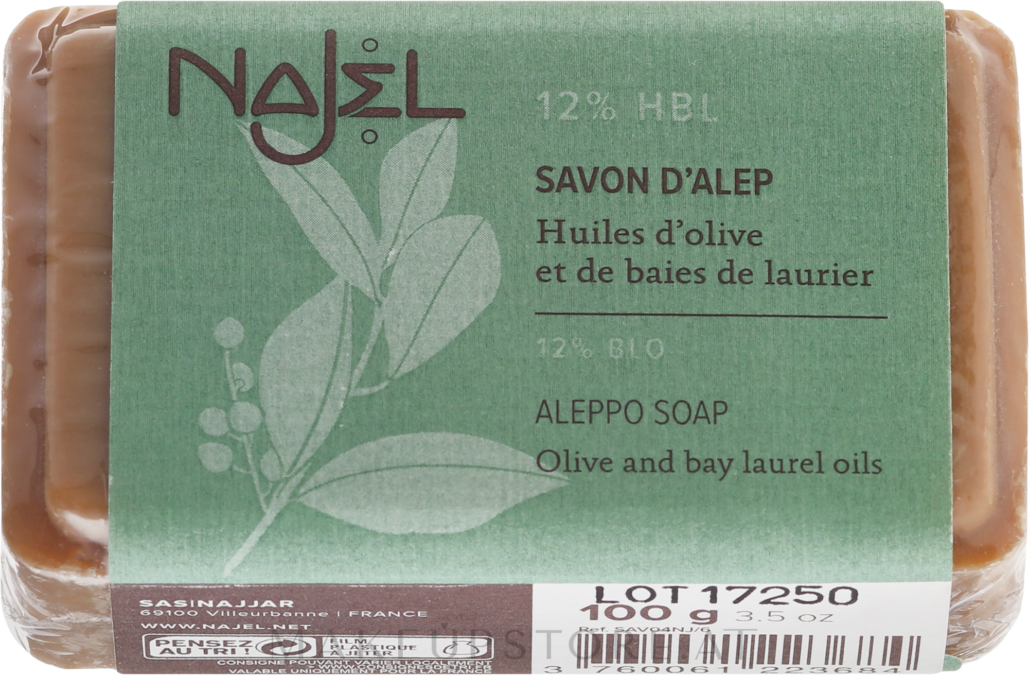 Natürliche Seife mit Oliven- und 12% Lorbeeröl für normale bis Mischhaut - Najel Savon d'Alep Aleppo Soap By Laurel Oils 12% — Bild 100 g