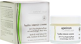 Düfte, Parfümerie und Kosmetik Intensiv feuchtigkeitsspendende Gesichtscreme mit reichhaltiger Aloe Vera für reife, trockene und Mischhaut - Apeiron Hydro Intensiv Cream 24h