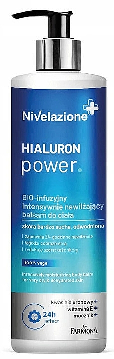 Intensiv feuchtigkeitsspendender Körperbalsam mit Hyaluronsäure, Vitamin E und Harnstoff - Farmona Nivelazione Hyaluron Power Body Balm