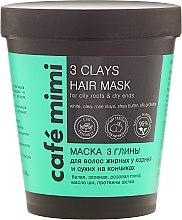 Düfte, Parfümerie und Kosmetik Haarmaske für fettige Wurzeln und trockene Enden mit weißer, grüner und rosa Tonerde - Cafe Mimi Mask