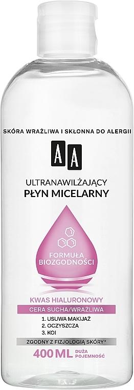Intensiv feuchtigkeitsspendendes Mizellen-Reinigungswasser mit Hyaluronsäure für trockene und empfindliche Haut - AA Ultra Moisturizing Micellar Water