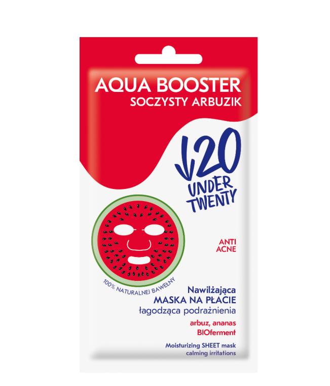 Feuchtigkeitsspendende und beruhigende Anti-Akne Tuchmaske gegen Reizungen - Under Twenty Anti Acne Aqua Booster Juicy Watermelon Face Mask — Bild N1