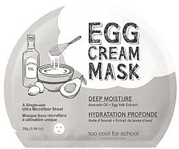 Düfte, Parfümerie und Kosmetik Tief feuchtigkeitsspendende Tuchmaske für das Gesicht mit Avocadoöl und Eigelb-Extrakt - Too Cool For School Egg Cream Mask Deep Moisture