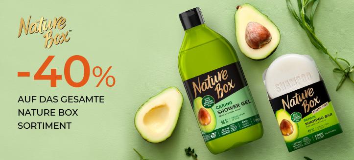 40% Rabatt auf das ganze Nature Box Sortiment. Die Preise auf der Website sind inklusive Rabatt
