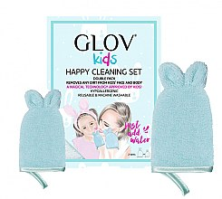 Düfte, Parfümerie und Kosmetik Handschuh-Set zur Gesichtsreinigung - Glov Kids Happy Cleaning Set Blue (Handschuh groß 1 St. + Handschuh klein 1 St.)