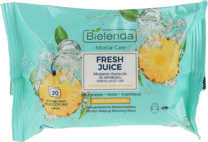 Feuchttücher zum Abschminken mit Zitruswasser und Ananas - Bielenda Fresh Juice Micelar Care Make-up Removing Wipes