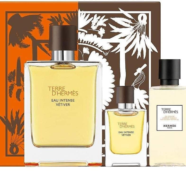Hermes Terre d'Hermes Eau Intense Vetiver - Duftset (Eau de Parfum 100ml + Duschgel 40ml + Eau de Parfum 5ml)