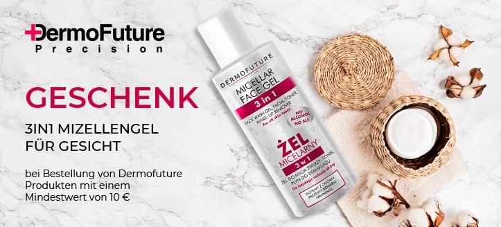Bei Bestellung von Dermofuture Produkten mit einem Mindestwert von 10 € bekommen Sie ein 3in1 Mizellengel für das Gesicht, als Geschenk von uns