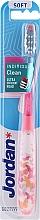 Düfte, Parfümerie und Kosmetik Zahnbürste weich Individual Clean mit Schutzkappe, rosa mit Schmetterlingen - Jordan Individual Clean Soft