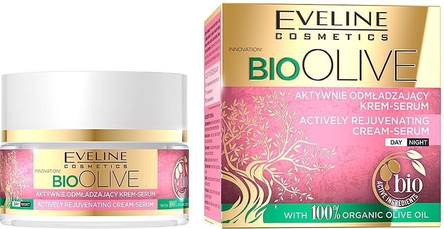 Aktiv verjüngendes Cremeserum für Gesicht mit Olivenöl - Eveline Cosmetics Bio Olive Actively Rejuvenating Cream-serum