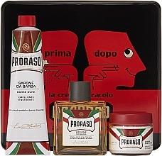 "Düfte, Parfümerie und Kosmetik Set - Proraso Classic Shaving Metal Red ""Primadopo"" (pre/cr/100ml + sh/cr/150ml + a/sh/cr/100ml)"