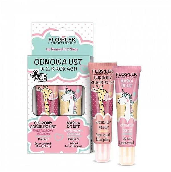 Lippenpflegeset - Floslek Lip Renewal In 2 Steps (Lippenpeeling 14g + Lippenmaske 14g)