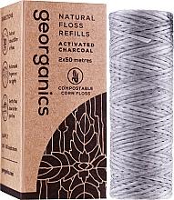 Düfte, Parfümerie und Kosmetik Gewachste Zahnseide mit Aktivkohle 2x50 m - Georganics Natural Charcoal Dental Floss (Austauschbare Patrone)