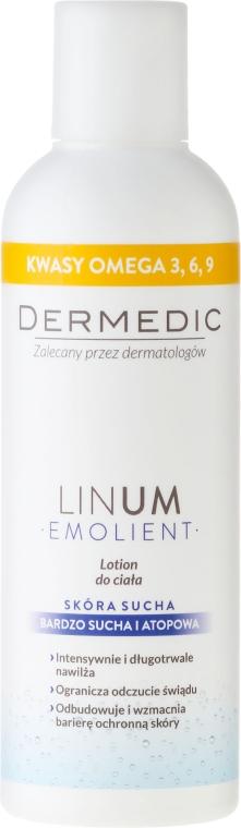 Intensiv feuchtigkeitsspendende und aufweichende Körperlotion für sehr trockene und atopische Haut - Dermedic Emolient Linum Body Lotion