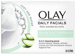 Düfte, Parfümerie und Kosmetik Wasseraktivierte Trockentücher für empfindliche Haut - Olay Cleanse Daily Facials Cloths Sensitive