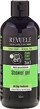 Düfte, Parfümerie und Kosmetik 3 in 1 Duschgel für Körper, Gesicht und Haare - Revuele Men Charcoal Green & Tea 3in1 Body, Hair & Face Shower Gel