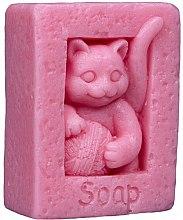 Düfte, Parfümerie und Kosmetik Handgemachte Naturseife Katze mit einer Schlaufe rosa - LaQ Happy Soaps