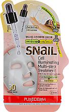 Düfte, Parfümerie und Kosmetik Tonisierende 3D Tuchmaske für das Gesicht mit Schneckenextrakt - Purederm Snail Cell Illuminating Multi-step Treatment