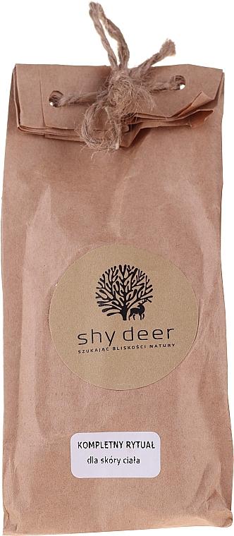 Körperpflegeset - Shy Deer (Körperpeelingcreme 50ml + Elixier für Gesicht, Körper und Haare 5ml + Gel für die Intimhygiene 5ml + Straffender Körperbalsam 10ml + Creme für Hände und Nägel 5ml + Körperbalsam 5ml + Körperlotion 5ml + Körperwaschmilch 5ml)