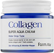 Düfte, Parfümerie und Kosmetik Feuchtigkeitsspendende aufhellende Anti-Falten Gesichtscreme mit Meereskollagen und Kräuterkomplex - FarmStay Collagen Super Aqua Cream