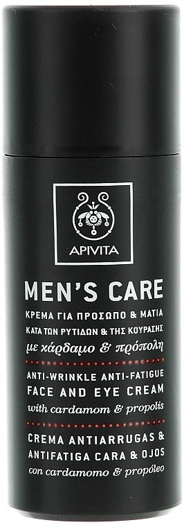 Anti-Falten Creme für Augenkontur und Gesicht gegen Müdigkeit mit Kardamom und Propolis - Apivita Men Men's Care Anti-Wrinkle Anti-Fatigue Face And Eye Cream With Cardamom & Propolis  — Bild N1