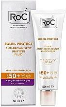 Düfte, Parfümerie und Kosmetik Aufhellendes Sonnenschutzfluid gegen Pigmentflecken für das Gesicht SPF 50+ - RoC Soleil Protect Anti-Brown Spot Unifying Fluid SPF50