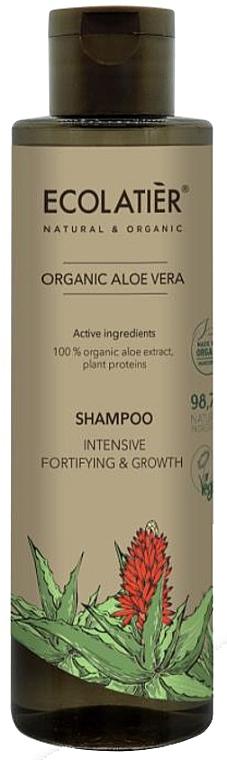 Stärkendes Shampoo zum Haarwachstum mit Bio Aloeextrakt und Pflanzenproteinen - Ecolatier Organic Aloe Vera Shampoo