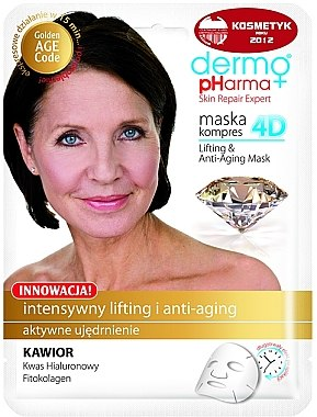Anti-Aging Tuchmaske mit Kaviarextrakt, Granatapfel und grünem Tee - Dermo Pharma Skin Repair Expert Lifting Anti Aging Mask 4D — Bild N1