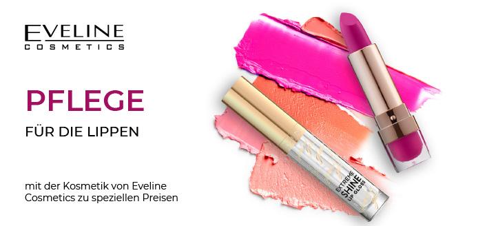 5% Rabatt auf ausgewählte Produkte für Lippen-Make-up von Eveline Cosmetics. Die Preise auf der Website sind inklusive Rabatt