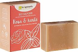 Düfte, Parfümerie und Kosmetik Pflegende Bio Seife mit Rose und Scheabutter für trockene und empfindliche Haut - La Saponaria Rose & Shea Butter Soap