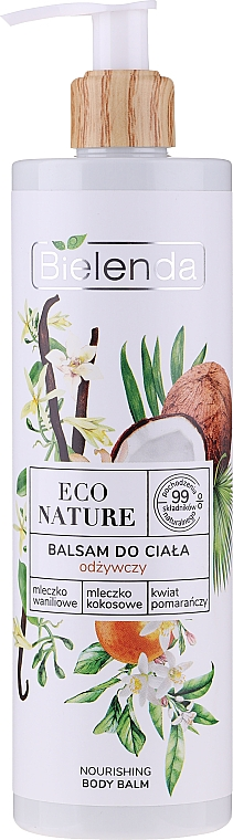 Pflegender Körperbalsam mit Vanillemilch, Kokosmilch und Orangenblüte - Bielenda Eco Nature Vanilla Milk, Coconut Milk, Orange Blossom Nourishing Body Lotion