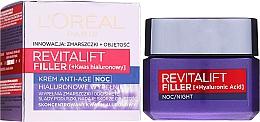Düfte, Parfümerie und Kosmetik Anti-Aging Nachtcreme mit Faltenauffüll-Effekt - L'Oreal Paris Revitalift Filler Hyaluronic Acid Night Cream