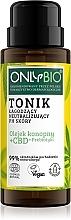 Düfte, Parfümerie und Kosmetik Beruhigendes und neutralisierendes pH-Wert der Haut Gesichtstonikum mit Hanföl, Cannabidiol und Präbiotika - Only Bio
