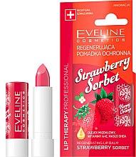 Düfte, Parfümerie und Kosmetik Regenerierender und schützender Lippenbalsam mit Erdbeeröl - Eveline Cosmetics Lip Therapy Proffesional Regenearting Lip Balm Strawberry Sorbet