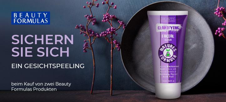Bei Bestellung von zwei Beauty Formulas Produkten bekommen Sie ein Gesichtspeeling geschenkt