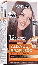 Düfte, Parfümerie und Kosmetik Haarpflegeset mit Keratin - Kativa Alisado Brasileno Con Glyoxylic & Keratina Vegetal Kit (Pre-Behandlung Shampoo 15ml + Behandlung zur Haarglättung 150ml + Shampoo 30ml + Conditioner 30ml + Pinsel 1St. + Handschuhe)