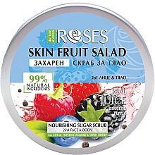 Düfte, Parfümerie und Kosmetik 2in1 Nährendes Zuckerpeeling für Körper und Gesicht mit Beerensaft und schwarzem Pfeffer - Nature of Agiva Roses Body Fruit Salad Nourishing Sugar Scrub