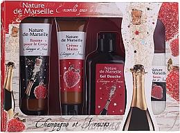 Düfte, Parfümerie und Kosmetik Körperpflegeset Erdbeere und Champagner - Nature De Marseille (Duschgel 150ml + Handcreme 60ml + Körperbalsam 100ml + Seife 95g)