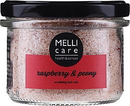 Düfte, Parfümerie und Kosmetik Natürliches Peeling-Badesalz Himbeere & Pfingstrose - Melli Care Raspberry & Peony Scrubbing Bath Salt