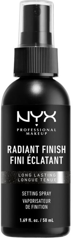 Schimmernder Make-up Fixierspray mit Mikroperlmuttpartikeln - NYX Professional Makeup Radiant Finish Setting Spray Long Lasting