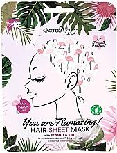 Düfte, Parfümerie und Kosmetik Tuchmaske für das Gesicht mit Marulaöl Flamingo - Derma V10 Flamingo Print Hair Mask With Marula Oil