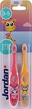 Düfte, Parfümerie und Kosmetik Kinderzahnbürste 3-5 Jahre weich Step By Step 2 St. rosa+gelb - Jordan Step By Step Soft Clean